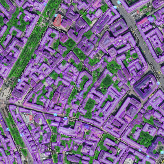 Neural network classification of objects on a satellite image (Moscow, Russia)