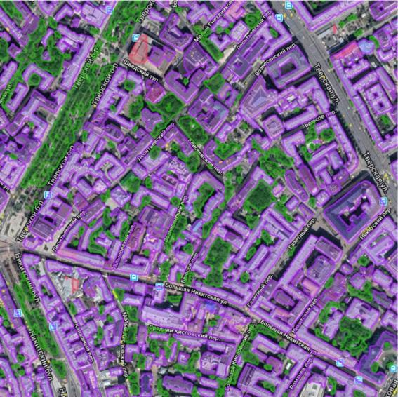 Нейросетевая классификация объектов на спутниковом снимке (г. Москва)