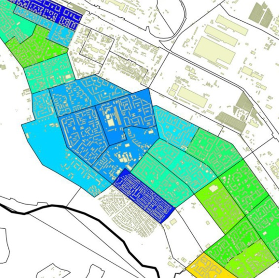 Price zoning of the area in relation to cadastral quarters (Volzhsky, Russia)